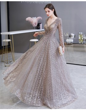 V-neck Sparkle Sequin Lace Evening Dress with Long Sleeves HG69448