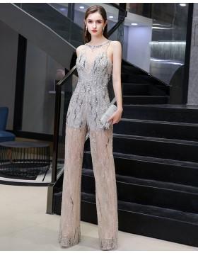 Unique Jewel Grey & Champagne Beading Sequin Jumpsuit HG73445