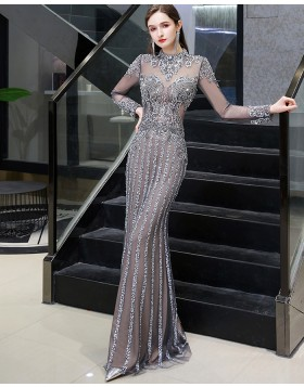 Gorgeous High Neck Grey Beading Evening Dress with Long Sleeves HG86443