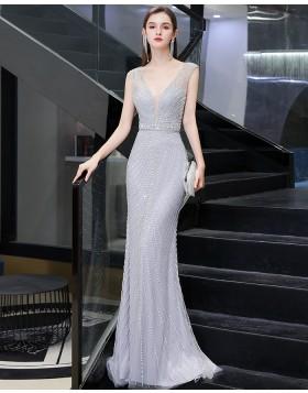 Silver V-neck Beading Mermaid Evening Dress HG92446