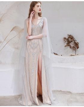 V-neck Beading Dusty Blue Cape Sleeves Evening Dress with Side Slit HG931019