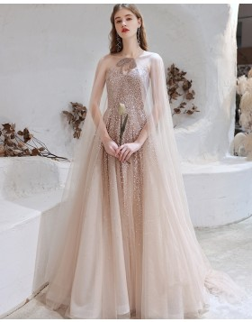 Sweetheart Rose Gold Sequin Tulle Evening Dress with Tulle Cape HG991021