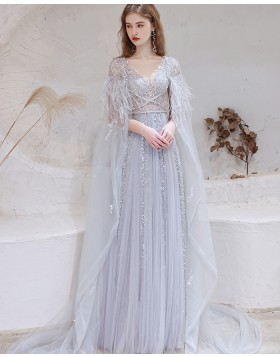 Dusty Blue V-neck Sequin Tulle Evening Dress with Feather Cape HG991022