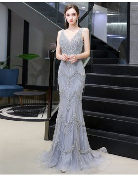 V-neck Silver Beading Mermaid Evening Dress with Feather Tippet HG99455