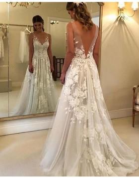 V-neck Lace Ivory Pleated A-line Wedding Dress NWD2100
