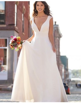 Simple V-neck Ivory A-line Empire Wedding Dress NWD2102