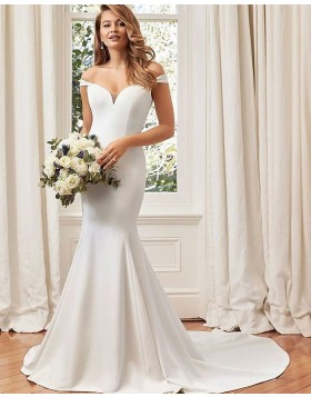 Off the Shoulder White Simple Satin Mermaid Fall Wedding Dress NWD2103
