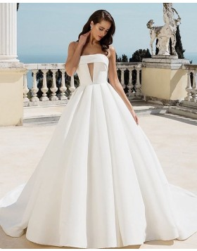 Strapless Cutout White Pleated Satin Ball Gown Wedding Dress NWD2104