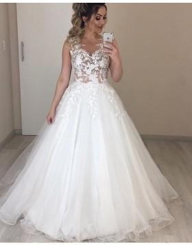 Jewel Lace Bodice White Pleated Tulle Wedding Dress NWD2107