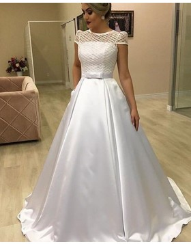 Jewel Lace Bodice White Satin Wedding Dress with Pockets NWD2110
