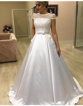 Jewel Lace Bodice White Satin Wedding Dress with Pockets NWD2110