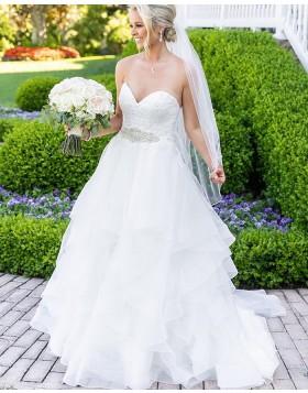 Sweetheart Lace Bodice White Ruffled Wedding Dress NWD2113