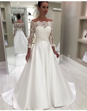 Off the Shoulder White Lace Bodice Wedding Dress with Long Sleeves NWD2114