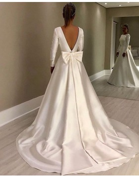 Jewel Satin White A-line Simple Wedding Dress with Long Sleeves NWD2117