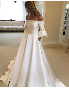 Off the Shoulder Satin White A-line Wedding Dress with Half Length Sleeves NWD2118