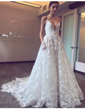 Spaghetti Straps White Lace Pleated A-line Wedding Dress with Pockets NWD2119