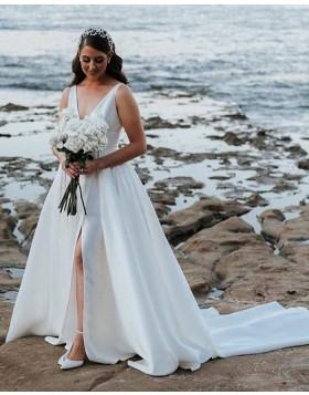 Deep V-neck Pleated Satin White Side Slit Wedding Dress with Pockets NWD2120
