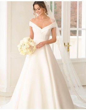 Off the Shoulder White Satin A-line Wedding Dress NWD2121