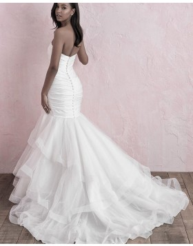 Sweetheart White Ruffled Mermaid Wedding Dress NWD2123