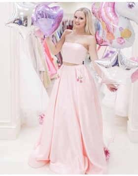 Two Piece Light Pink Strapless Satin Prom Dress with Appliqued Pockets PD1624