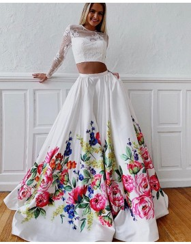 Jewel Two Piece Floral Print Prom Dress with Lace Long Sleeves PD1632