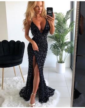 Amazing V-neck Sequined Black Formal Dress with Side Slit PD1633