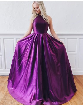 Jewel Purple Simple A-line Satin Pleated Prom Dress PD1637
