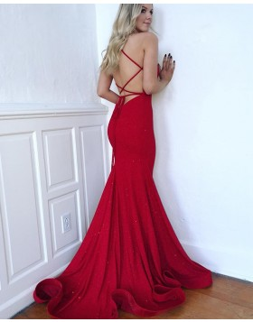 Spaghetti Straps Sparkle Red Mermaid Prom Dress PD1640