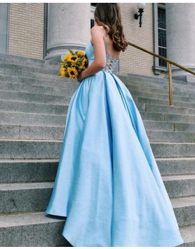 Spaghetti Straps Light Blue Satin Simple Prom Dress PD1641