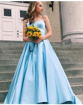 Spaghetti Straps Light Blue Satin Simple Prom Dress PD1641