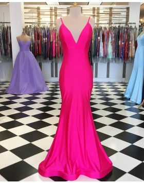 Spaghetti Straps Blushing Simple Mermaid Prom Dress PD1643