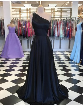 One Shoulder Simple Navy Blue Satin Prom Dress PD1645