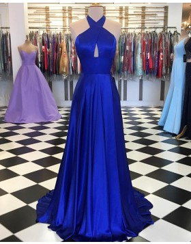 Crisscross Halter Satin Simple Royal Blue Pleated Prom Dress PD1647