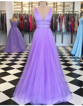 Deep V-neck Lavender Beading Tulle Pleated Prom Dress PD1648