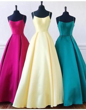 Spaghetti Straps Simple Satin A-line Prom Dress PD1649