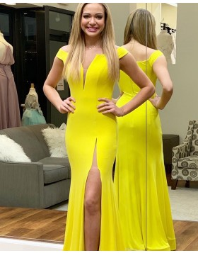 Off the Shoulder Chiffon Simple Yellow Mermaid Prom Dress with Side Slit PD1651
