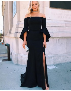 Off the Shoulder Black Side Slit Mermaid Prom Dress with Bell Sleeves PD1652