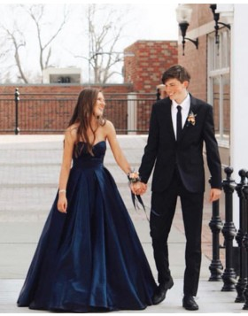 Sweetheart Navy Blue Pleated Simple Prom Dress with Lace Up PD1653
