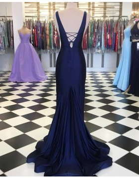 Deep V-neck Navy Blue Simple Mermaid Prom Dress PD1654