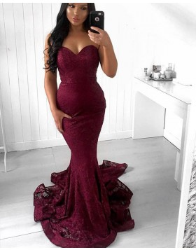 Sweetheart Lace Burgundy Mermaid Style Prom Dress PD1655