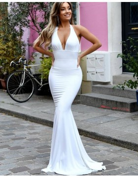 Halter White Ruched Satin Mermaid Simple Prom Dress PD1657