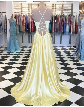 Spaghetti Straps Yellow Pleated Satin Prom Dress with Side Slit PD1658
