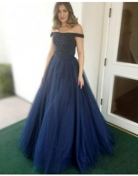 Off the Shoulder Navy Blue Beading Bodice Tulle Prom Dress PD1662