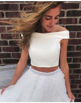 Two Piece Off the Shoulder White Prom Dress with Tulle Beading Skirt PD1663