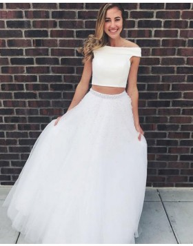 1306c629767 Two Piece Off the Shoulder White Prom Dress with Tulle Beading Skirt PD1663  ...