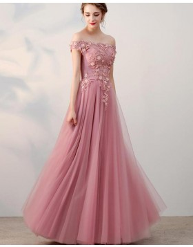 Off the Shoulder Blush Pink Appliqued Bodice Tulle Prom Dress PD1665