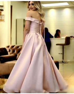 Off the Shoulder Light Pink Satin Simple Pleated Prom Dress PD1666