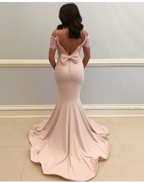 Cold Shoulder Pearl Pink Satin Prom Dress with Lace Short Sleeves PD1667