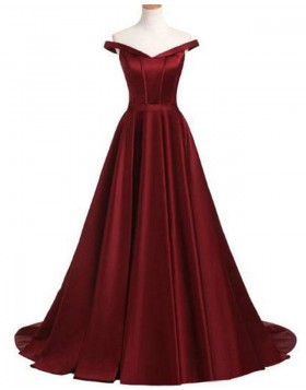 Off the Shoulder Satin Burgundy Pleated Prom Dress PD1668