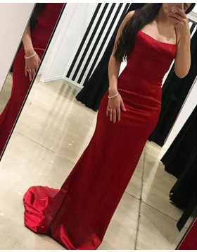 Spaghetti Straps Red Simple Mermaid Prom Dress PD1669